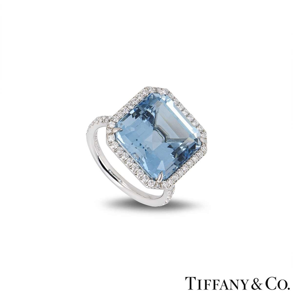 Tiffany & Co. Aquamarine and Diamond Platinum Ring